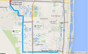 Google Map Directions to PC Pros of Wellington from Boynton Beach FL