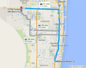 Google Map Directions to PC Pros of Wellington from Delray Beach FL