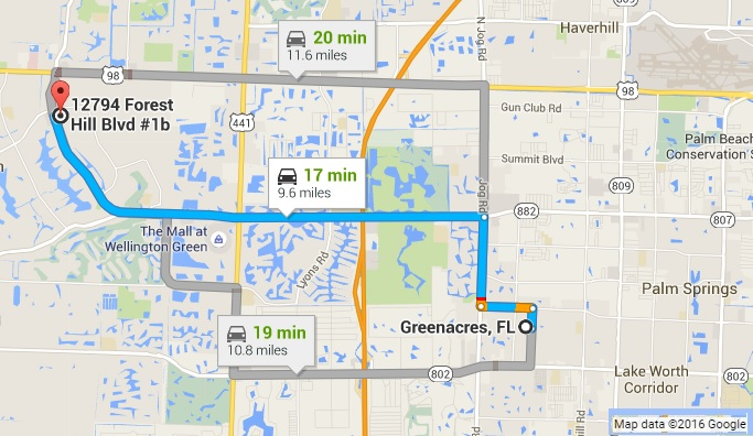 Google Map Directions to PC Pros of Wellington from Greenacres FL