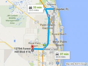 Google Map Directions to PC Pros of Wellington from Jupiter FL