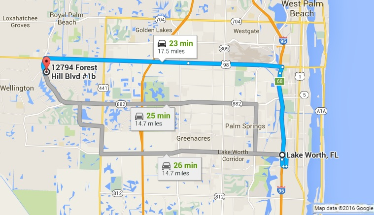 Google Map Directions to PC Pros of Wellington from Lake Worth FL