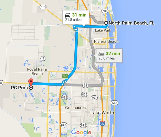 Google Map Directions to PC Pros of Wellington from North Palm Beach FL