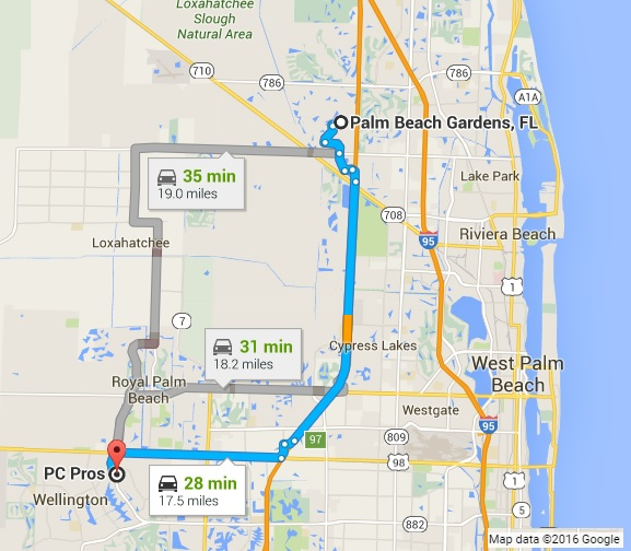 Google Map Directions to PC Pros of Wellington from Palm Beach Gardens FL