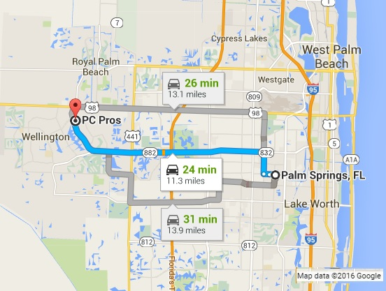 Google Map Directions to PC Pros of Wellington from Palm Springs FL