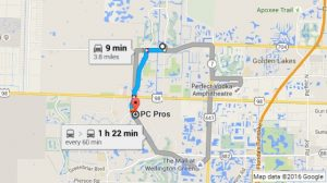 Google Map Directions to PC Pros of Wellington from Royal Palm Beach FL